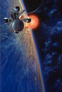 Nemesis by artist Don Dixon - Starship orbits a planet of Barnard's Star